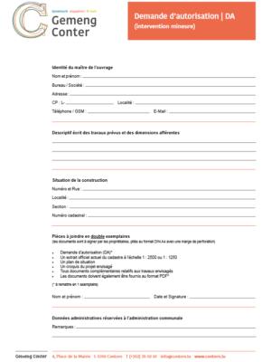 2021 04 26 Demande d'autorisation (intervention mineure)