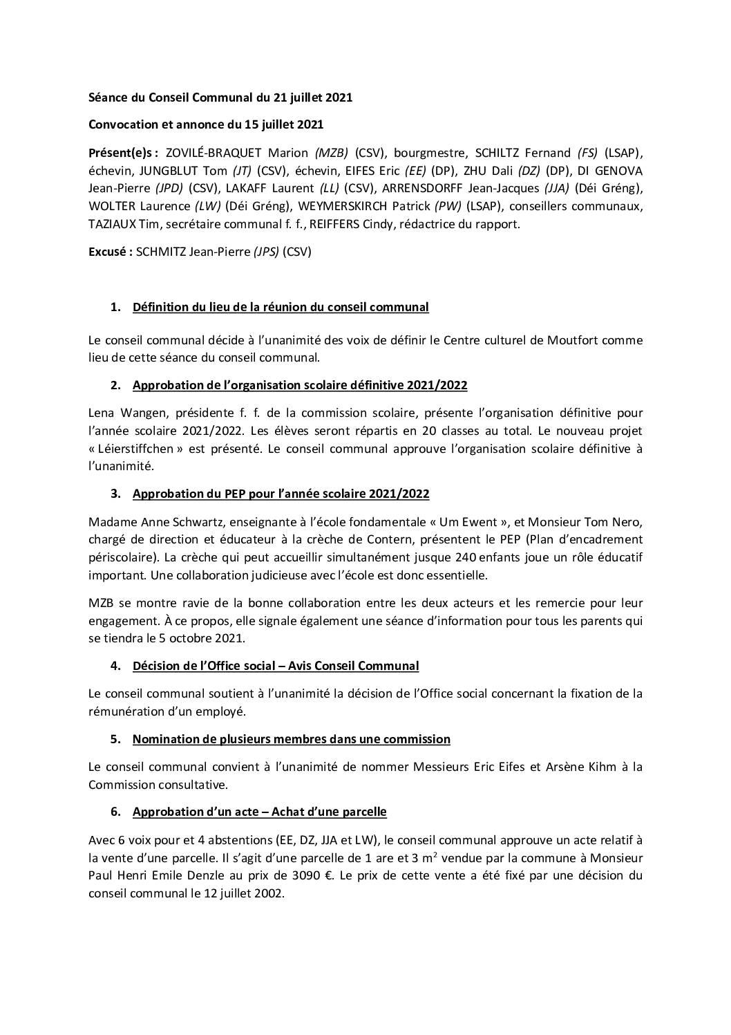 2021 07 21 Rapport du conseil communal