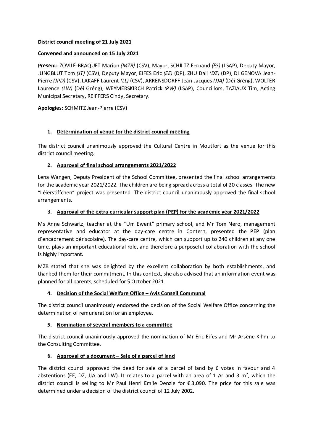 2021 07 21 Rapport of the District council meeting