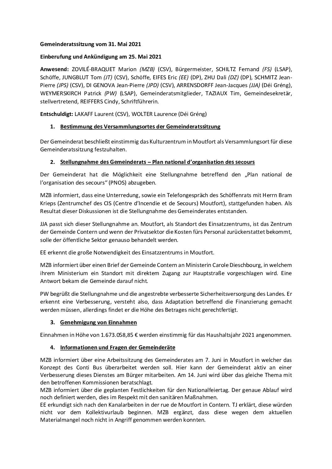 2021 05 31 Bericht der Gemeinderatssitzung